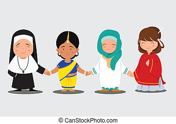 Multi ethnic people - A vector illustration of multiethnic...
