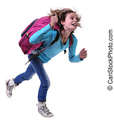 happy schoolgirl or traveler exercising and jumping