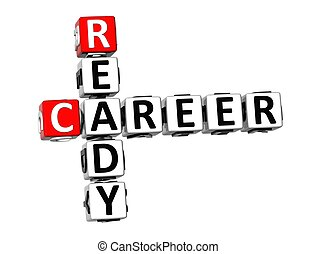 3D Crossword Ready Career on white background