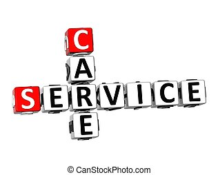 3D Crossword Service Care on white background