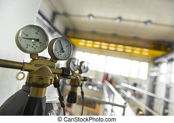 Manometer of an air compressor closeup photo