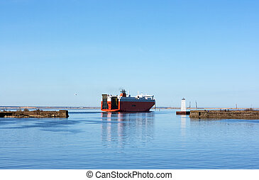 ferry boat - The ferry boat in Kronstadt fort bay on the...