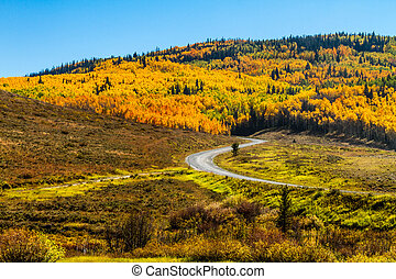 Fall in Steamboat Springs Colorado - Mountain slopes filled...