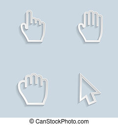 Paper Hand Cursors. Editable EPS and Render in JPG format