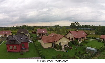 real estate view from drone , house in Poland , Europe