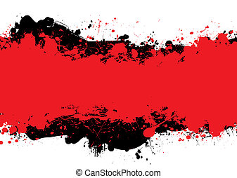 red n black ink - Red and black abstract background with...