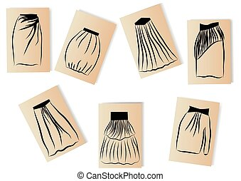 skirts. models of women's skirts on white background