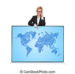 world map - businesswoman pointing to plasma panel with...