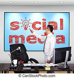 social media - businessman standing and pointing to social...