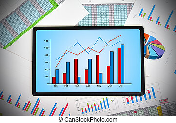 touch pad with chart and financial statements on table