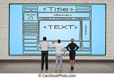 template webpage - businesspeople looking at plasma panel...