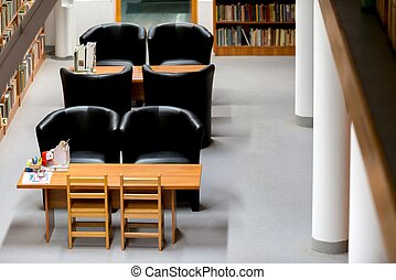 Relaxing chairs in a library