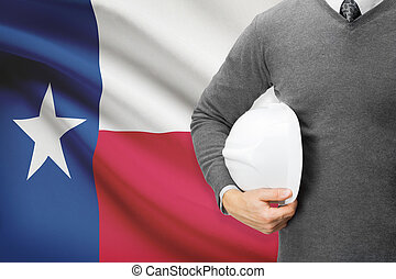 Engineer with flag on background series - Texas