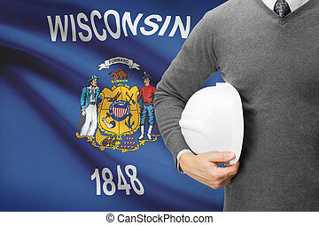 Engineer with flag on background series - Wisconsin