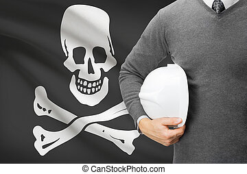 "Engineer with flag on background series - ""Jolly Roger"" flag - symbol of piracy."