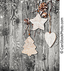 Hand made traditional christmas decoration on wood - Home...
