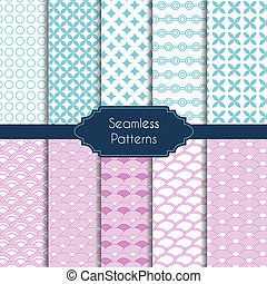Set of geometric seamless patterns - Vector illustration Set...