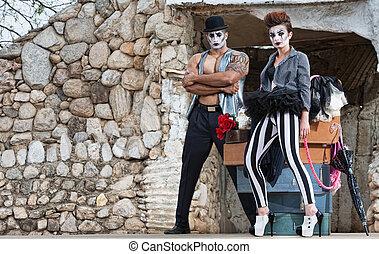 Surreal Circus Performers - Pair of comedia del arte...