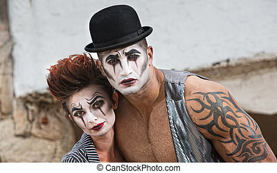 Two Bizarre Comedy Performers - Strange pair of male and...