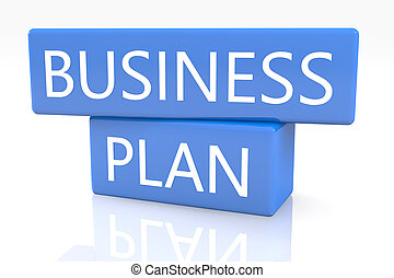 Business Plan - 3d render blue box with text Business Plan...