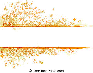 Background with orange flowers - Decorative vector autumn...