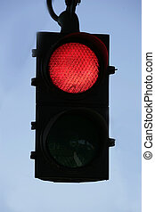 traffic light - red trafic light with blu sky in background