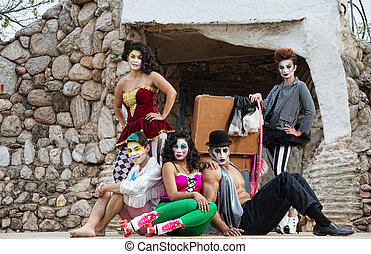 Cirque Performers on Stage - Group of male and female...