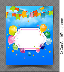 Party banner with flags and ballons - Vector illustration of...