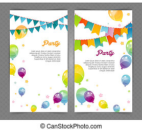 Party banners with flags and ballons - Vector illustration...