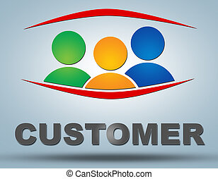 Customer text illustration concept on grey background with...