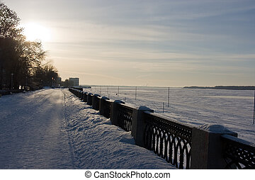 Quay of Volga - Winter snowy quay and river Volga in Samara...