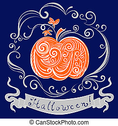 lace pumpkin for hallowmas, vector card eps 8