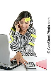 Brunette secretary bussy stressed over white - Brunette...