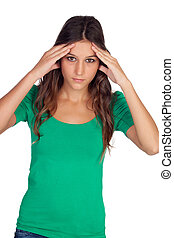 Casual girl with headache isolated on a white background