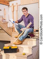 échelle, charpentier