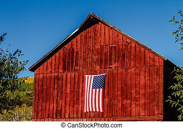 Fall in Steamboat Springs Colorado - American flag hanging...