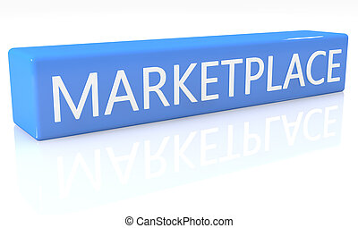 Marketplace - 3d render blue box with text Marketplace on it...