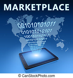 Marketplace illustration with tablet computer on blue...