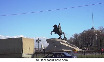 Monument to Peter the Great and Neva river quay at the distance, St. Petersburg