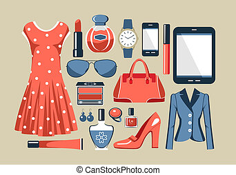 Fashion set in a style flat design