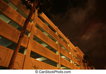parking house at night with palm tree