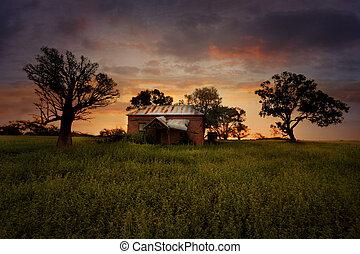 tramonto, vecchio, abbandonato, fattoria, casa