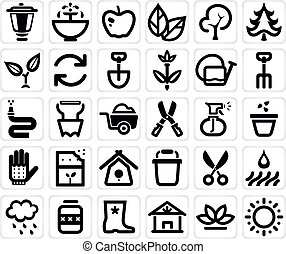 vector farming and garden icon set - vector black farming...