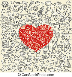 doodle food icons, love food vector background