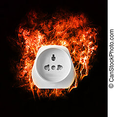 Burning power Adapter on black Background