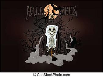 Horror nun - Illustration of Halloween horror nun
