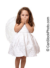 Little angel girl with hands covering her mouth - Little...