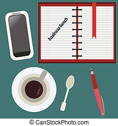 Desktop, business lunch Flat set - Desktop, business lunch,...