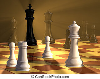 Chess duel - Chess pieces and board with dramatic lighting....