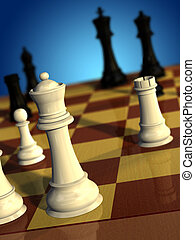 Chess game - Chess pieces White queen checking black king...